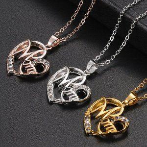 Mom Letter Glitter Faux Diamond Heart Necklace NEW